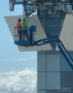 Installing white plates on the receiver tower